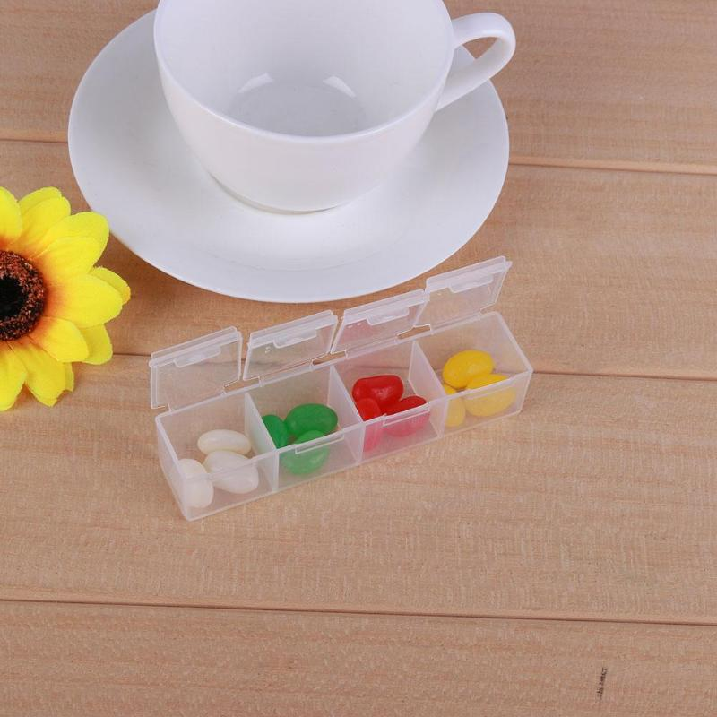 4 Grids Plastic Tablet Box Pill Box Medicine Holder Storage Organizer Container Case drugs Pill Box Pastillero