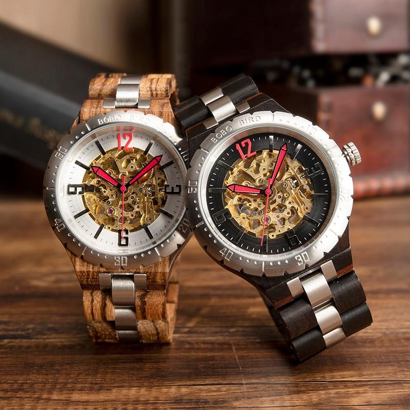 Relogio Masculino แบรนด์ BOBO BIRD Mechanical นาฬิกาไม้นาฬิกาข้อมือผู้ชายโลโก้ที่กำหนดเอง Dropshipping ของขวัญกล่องไม้ไผ่ M S11-ใน นาฬิกาข้อมือกลไก จาก นาฬิกาข้อมือ บน   1