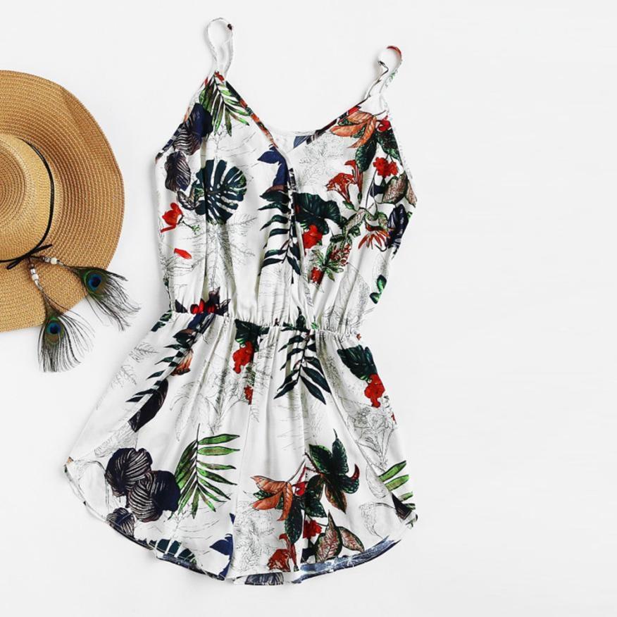 Feitong Womens Beach Rompers Spaghetti Strap V-Neck Floral Printed Playsuit Ladies Elastic Waist Elegant Clubwear Jumpsuit