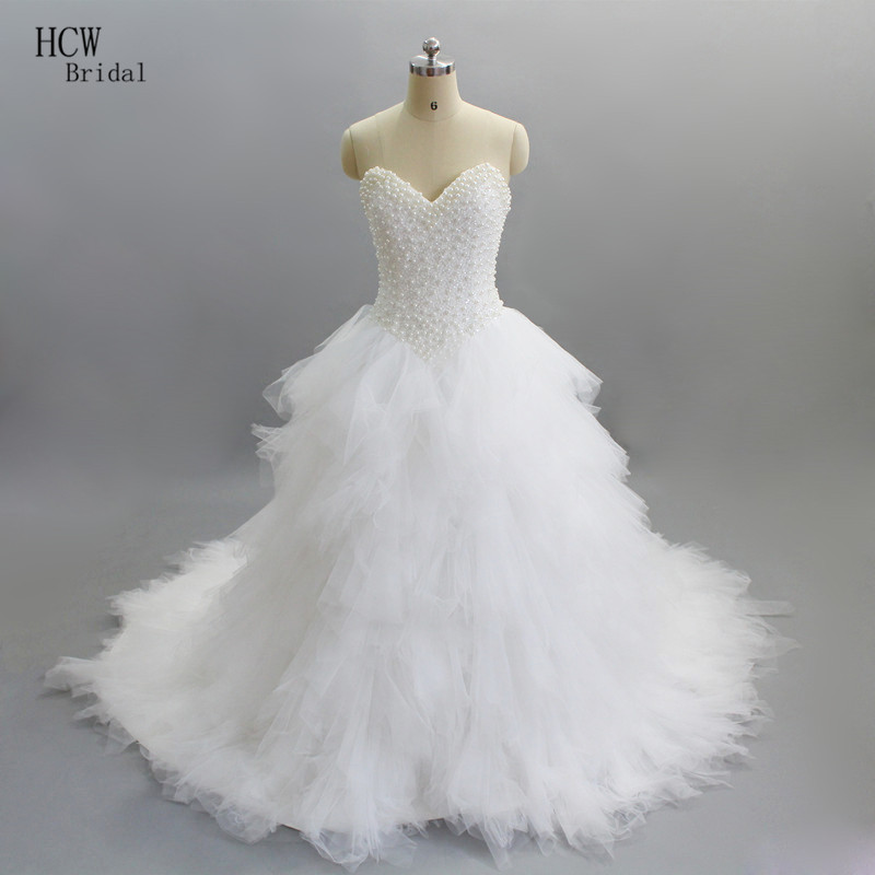 Luxury Princess Wedding Dresses 2020 Custom Made Beaded Pearls Sweetheart Lace Up Back Ruffles Tulle Wedding Dress