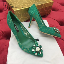 купить YIFSION 2019 New Fashion Spring Summer Women Pumps Pointed Toe Slip On Crystal Thin High Heel Ladies Pumps Party Shoes Woman по цене 5077.74 рублей