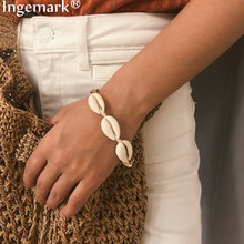 Ingemark Bohemian Cowrie Natural Shell Bracelets For Women Punk Aluminum Thick Chain Seashell Bracelet Bangle Hand Boho Jewelry