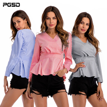 PGSD 2019 New Simple fashion spring Women Clothes Long sleeves V-neck checked waist slimming irregular hem shirt female