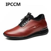 IPCCM Autumn New Leather Men's increased Casual Shoes 8 cm Sports Shoes Plus Velvet Men's Leather Shoes 6 cm Increase high Shoes