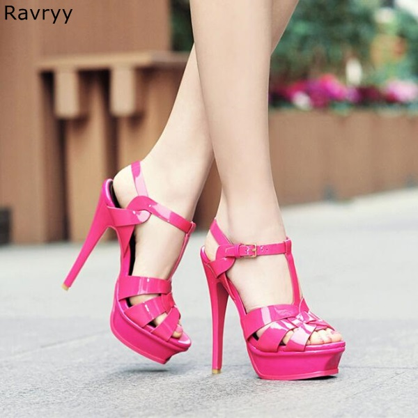 Summer fashion rose Woman sandals platform heels Sexy Pumps cut outs ankle buckle design thin heel female party dress shoes plus size 34 46 fashion sexy summer sandals ankle buckle high heel shoes dress women cut outs pointed toe thick heel party pumps
