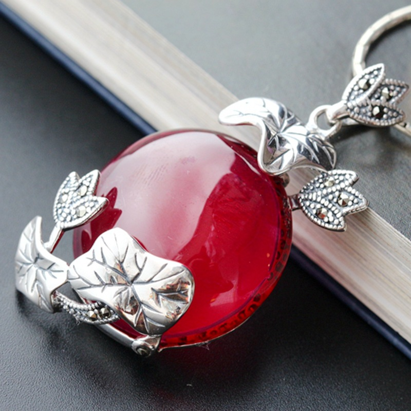 925 sterling silver pendant lotus leaf Thai silver pendant pendant restoring ancient ways 925 sterling silver pendant thai silver natural green agate pendant locket female ruby pendant