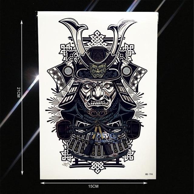 Japonais Guerrier Samourai Autocollant De Tatouage Temporaire Pour