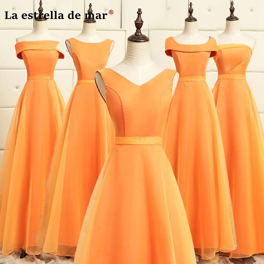 Vestidos de dama de honor largo 2018 new satin tulle 5 style orange cheap  bridesmaid dresses under 50 pretty abito damigella 8ed02ac6d45e