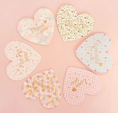 Heart Shape Romantic Foldable Card Thank You Gift Birthday Card Valentine  Love Card 6pcs