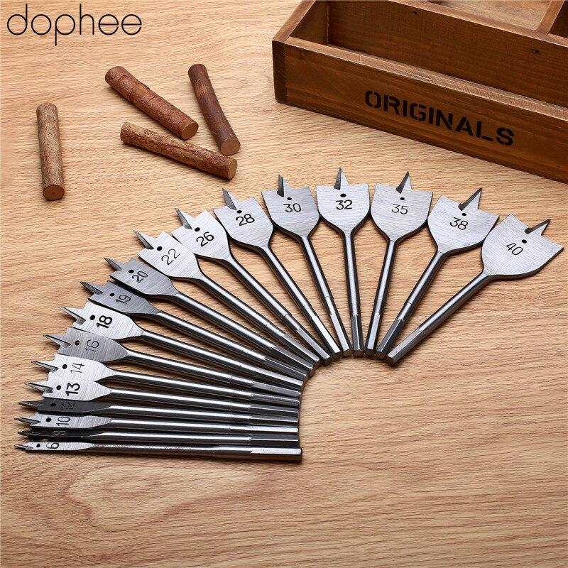 Dophee Spade Flat Wood Drill Woodworking Tools Drill Bits Wood Boring Flat Head Spade Paddle Steel Tools Metric 35/38/40mm 1PC