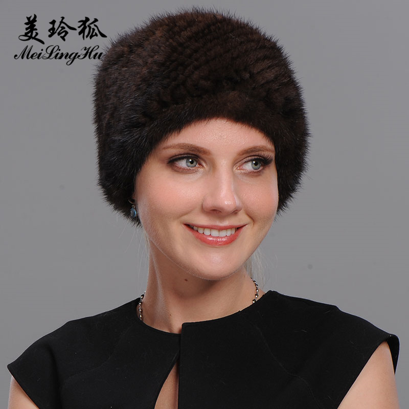 New Brand Mink Fur Women Hat Pom Poms Winter Hats Set Head High Quality Knitted Vogue Warm Casual Cap Female   Skullies     Beanies