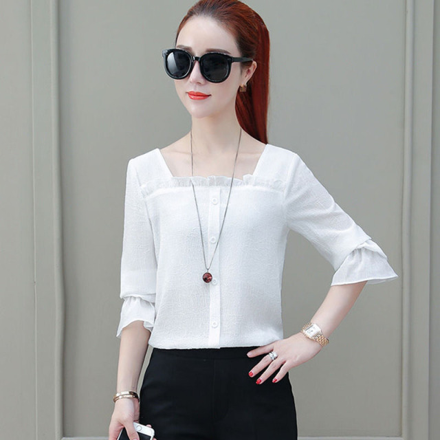 Women Spring Summer Style Chiffon Blouses Shirts Lady Casual Half Sleeve Solid Color Square Collar Blusas Tops DF2303 2