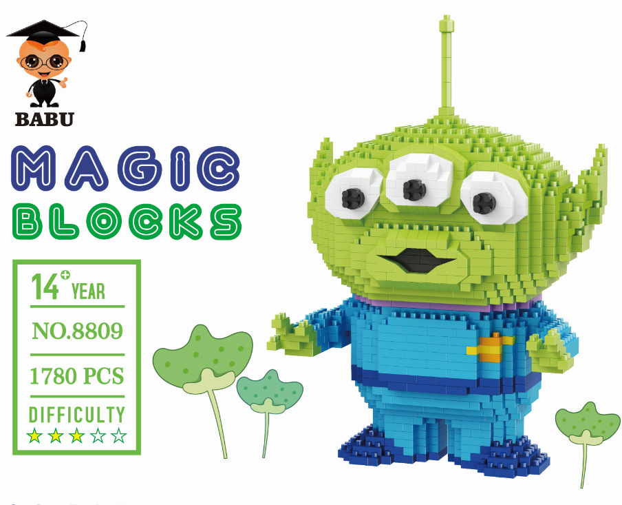 Image 2 - Mini Blocks Big size Cartoon Model Aliens Building Toy Anime Auction Figure Micro Brick Brinquedos Toys for Children Xmas Gift 8801-in Blocks from Toys & Hobbies