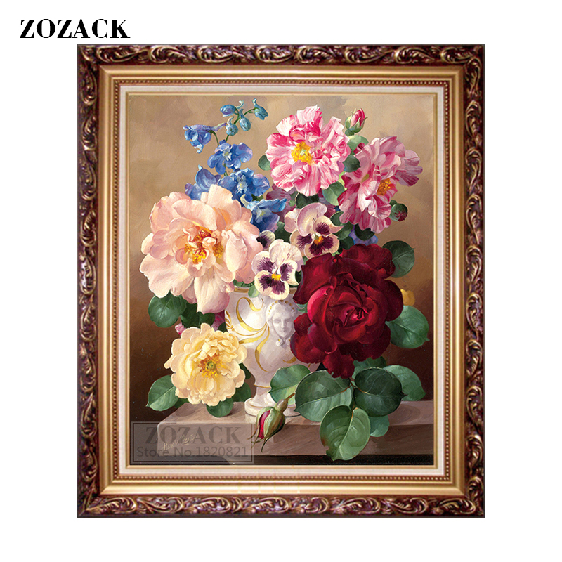New DIY DMC Home Decoration Cross-Stitching Handmade Needlework Cross Stitch Kit Precise Printed European Oil Painting Flowers