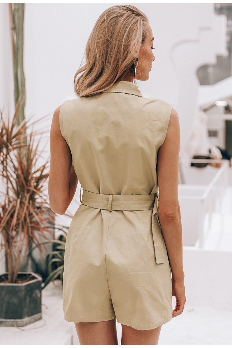 HTB1i..yUxjaK1RjSZFAq6zdLFXan - Simplee Elegant sashes khaki cotton women playsuit Summer pockets button zipper rompers short jumpsuit Office ladies overalls