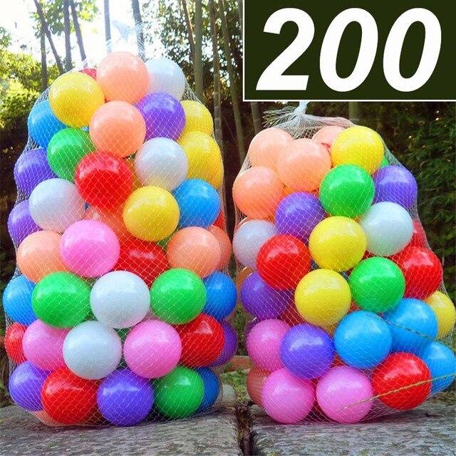 200 יח\שקית ילדים צעצוע כדורי צבעוני פלסטיק רך אוקיינוס כדור ידידותי לסביבה מים בריכת אוקיינוס גל כדור בור צעצועים לתינוק קוטר 5.5cm