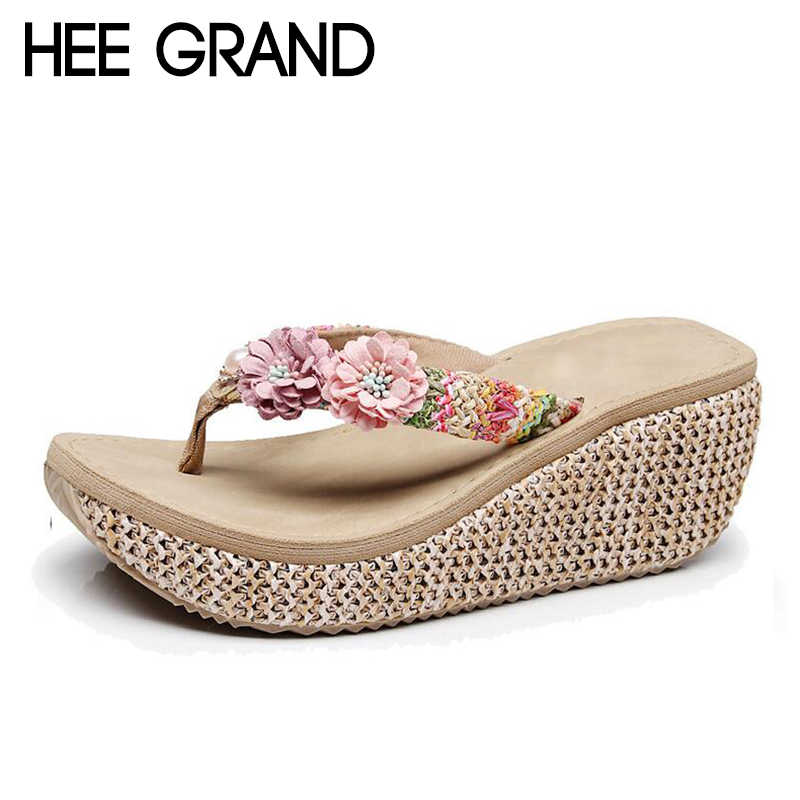 HEE GRAND 2018 New arrive Women's Slides with Flowers Girls Outdoor Slippers Women Slip-on Causal Shoes for Beach & Sun XWT1102
