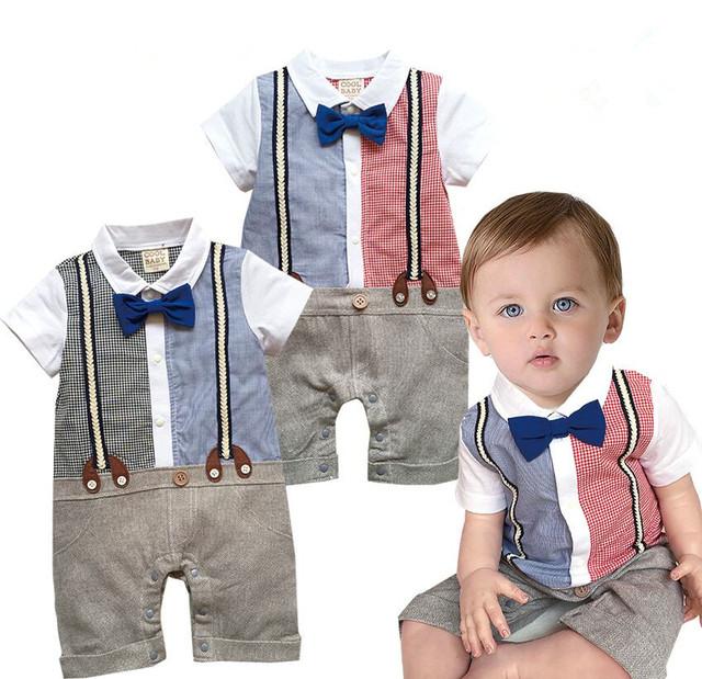 Crianças Xadrez Falso Strap Bow Tie Romper Do Bebê Menino Falso Two-piece Macacão Infantil Roupas de Algodão de Manga Curta Criança Traje de casamento