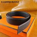 Men Genuine leather belts WITH BOX Designer Famous brand Luxury Belts for men Copper Buckle Jeans H belts ceinture homme 2