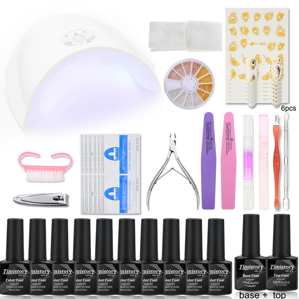 36W UV LED Lamp Nail Set 6/10 Colors Gel Varnish Nail Gel Polish Set Nail Art Kit Nails Dryer UV Gel Polish Manicure Tools Sets full uv gel nail art nail polish 36w nail uv lamp dryer tools eu plug set