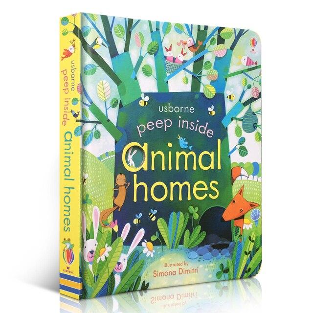 Peep dentro de casas de animales inglés educativo 3D Flap foto libros bebé regalo de la primera infancia para lectura de niños