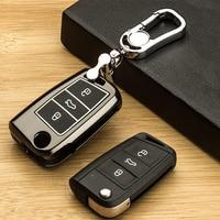 For Volkswagen VW Golf 7 Mk7 For Skoda Octavia A7 Luminous Alloy Leather Car Flip Key