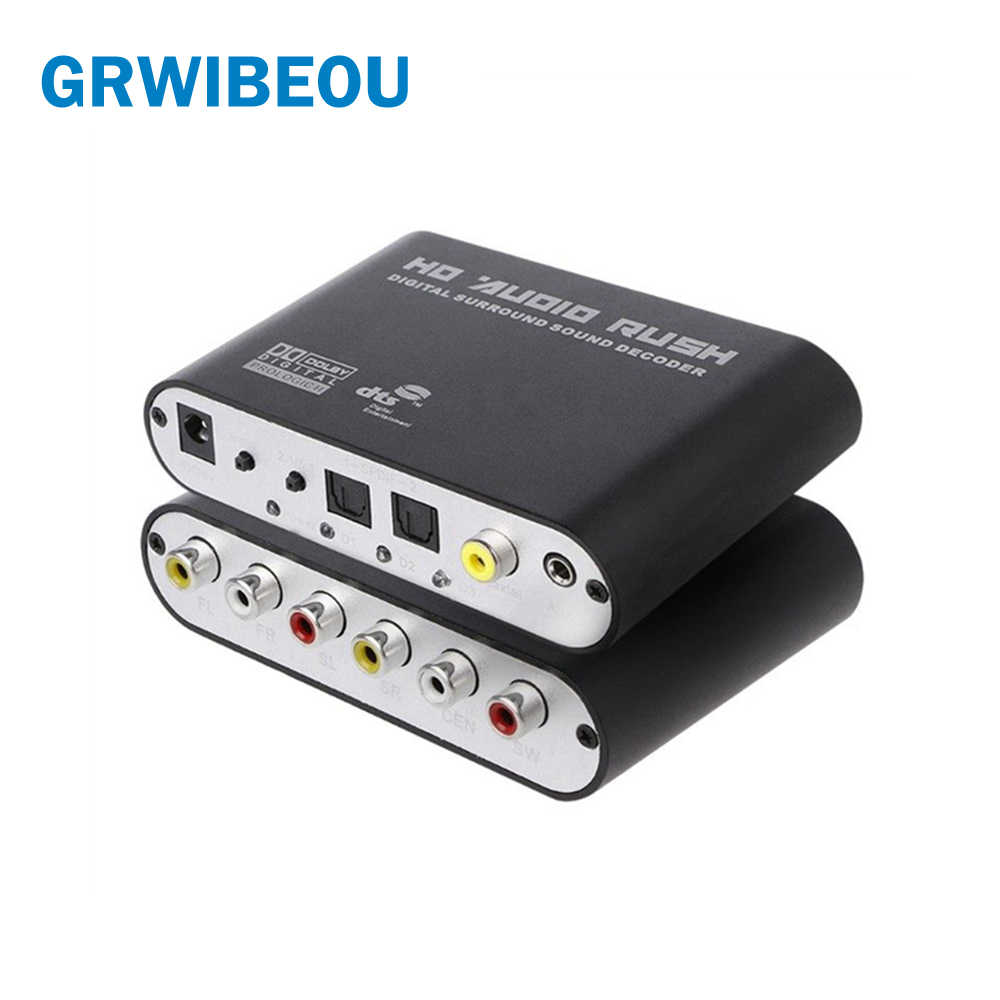 Converter Optik SPDIF 3.5 AUX Coaxial Digital Ke Analog 6 RCA Audio HD Rush 5.1 Decoder AC3 DTS Dolby Surround penguat Suara