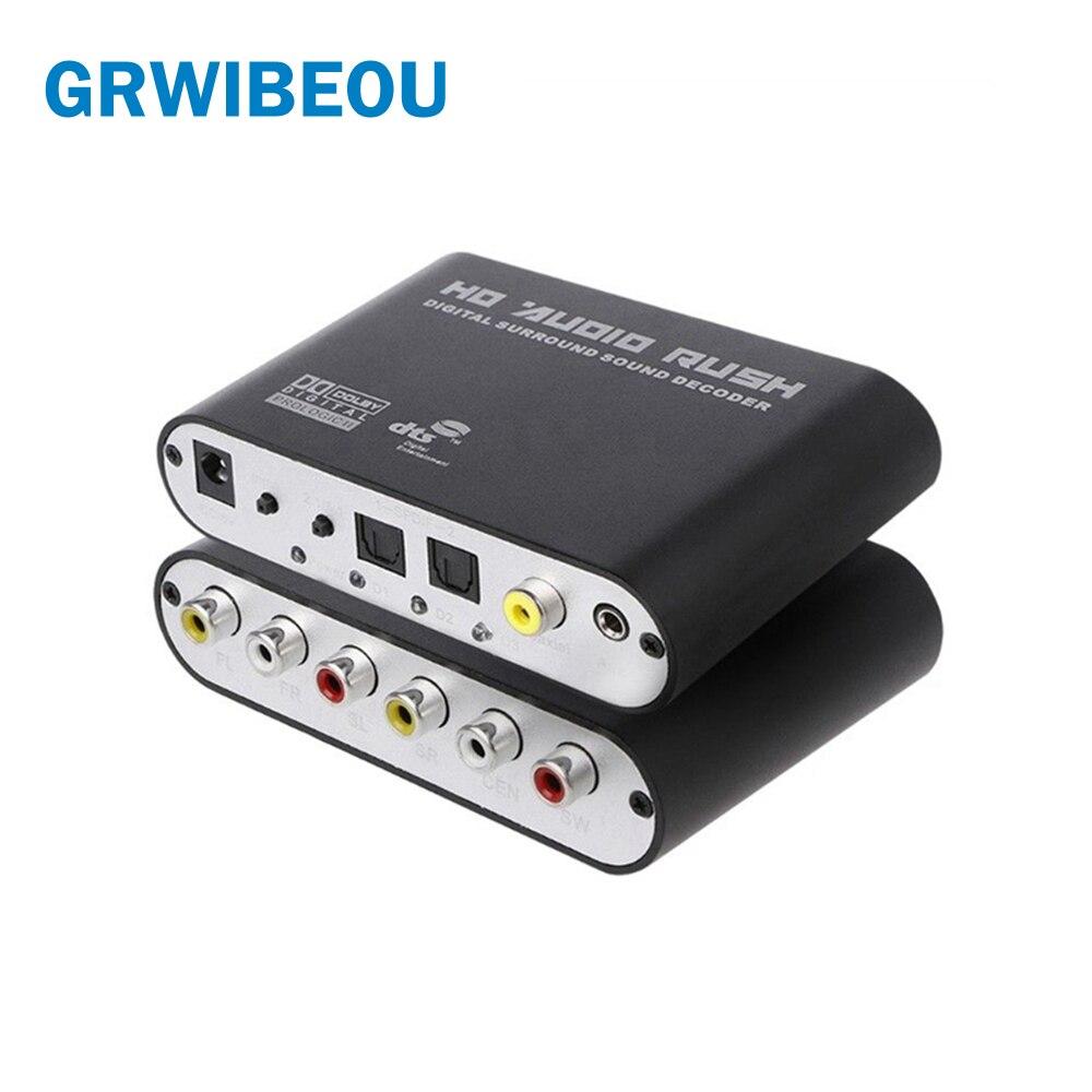 Convertisseur optique SPDIF 3.5 AUX coaxiaux numérique vers analogique 6 RCA HD Audio Rush 5.1 décodeur AC3 DTS Dolby amplificateur de son Surround