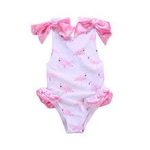 Funfeliz Swimsut Girls Flamingo Bikini One Piece Swimwear 2018 Cute Skirted Pink Swimming Suit for  Girl Cartoon Baby