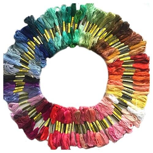 100 skeins bordado de colores hilo de algodón punto de cruz artesanía kit de hilo de coser