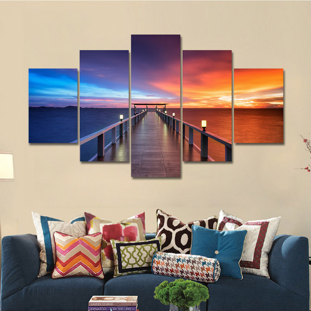 5 Pieces Landscape Poster Wall Art Painting Beautiful Sea Sunset Home Decor For Living Room HD