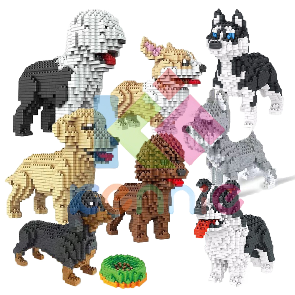 Cute Dog Mini Blocks Plastic Building Toy Animal Poodle Model Brinquedos golden retriever Toys for Children Lovely Girls Gifts Собака