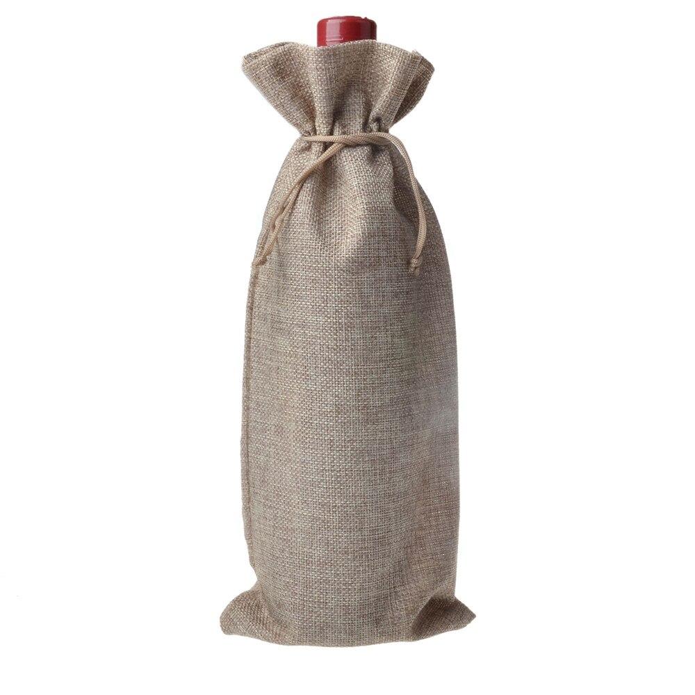 Navidad yute botellas de vino bolsas de regalo bolsas de vino - Para fiestas y celebraciones - foto 4