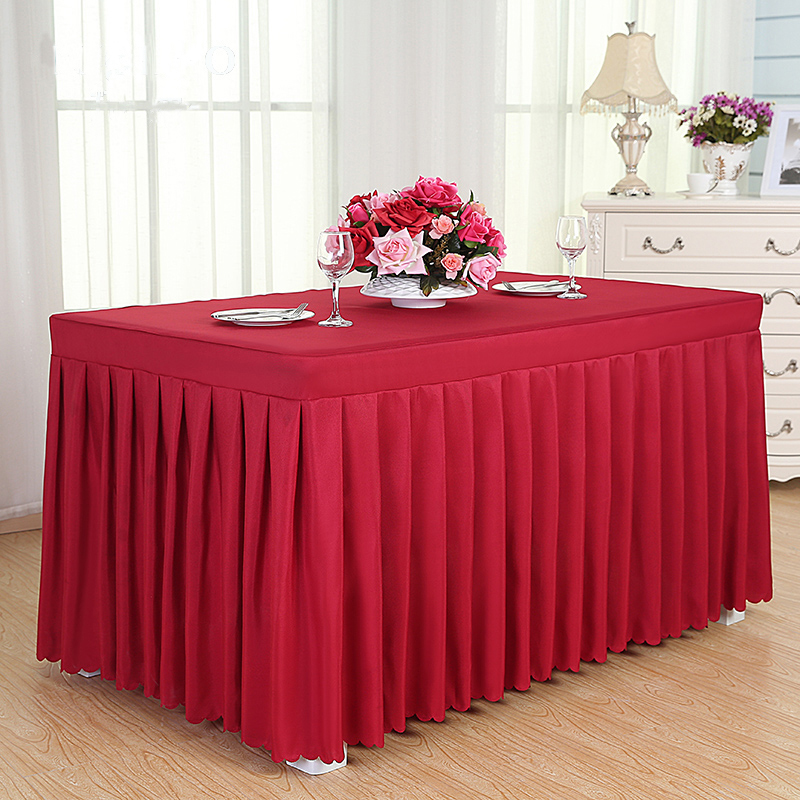 ROMANZO Solid Color Fabric Rectangle Conference Table Cover Office - Red conference table