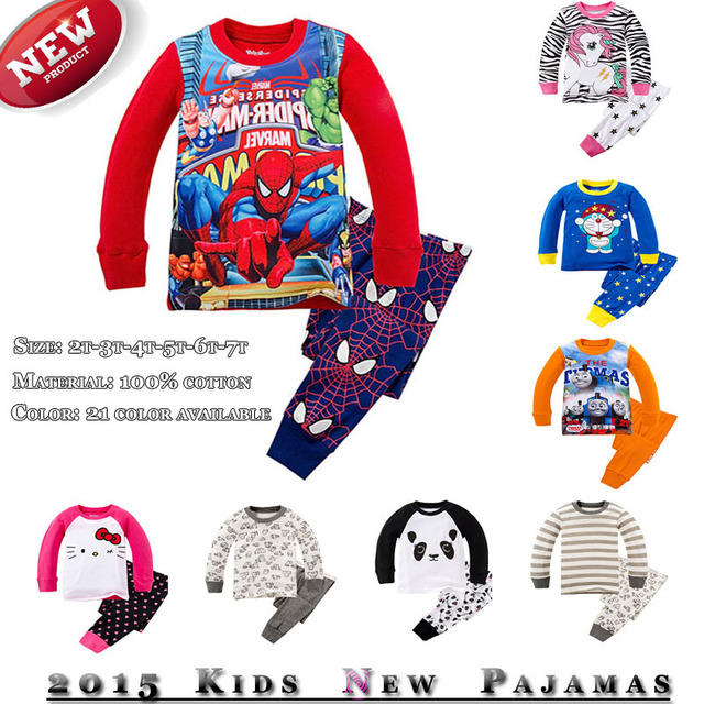 a4aa69ab14 Kids Pajamas Baby Pijamas My Little Pony SuperMan SpiderMan Car Styling  Doraemon Mini Mouse Hello Kitty Panda Pyjamas Sets
