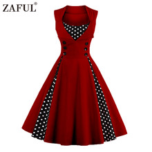 Retro Sleeveless Polka Dot A-Line Dress