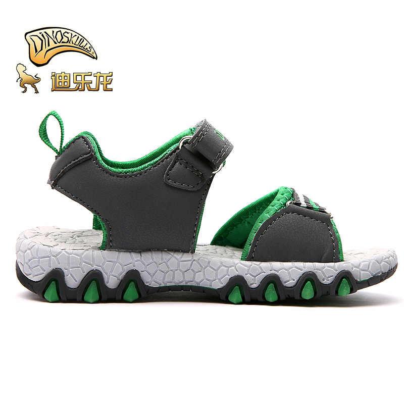DINOSKULLS דינוזאור ילדים של נעלי סנדלי בני זוהר LED זוהר קיץ ילדים חדשים פתוח הבוהן לנשימה גומי נעלי בית ספר