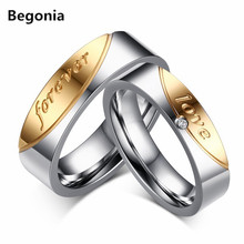 Fashion stainless steel rhinestone couple ring forever love letter lovers widding rings
