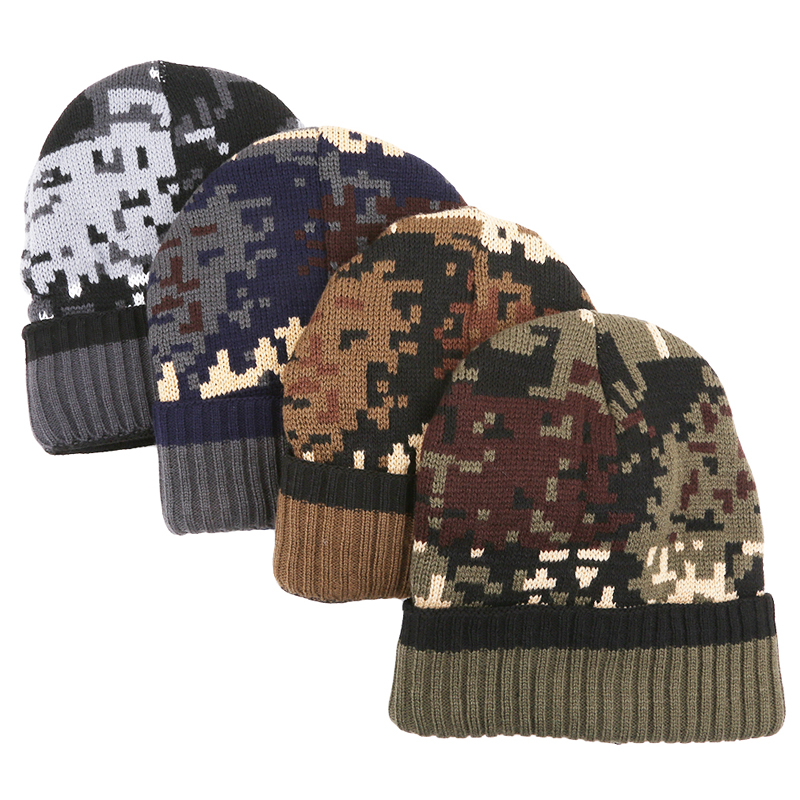 Thicken Fleece Lining Army Camouflage Hat For Men Hunting Winter Hat Warm Beanies Winter Climbing Fishing Knit Camo Ski Hats