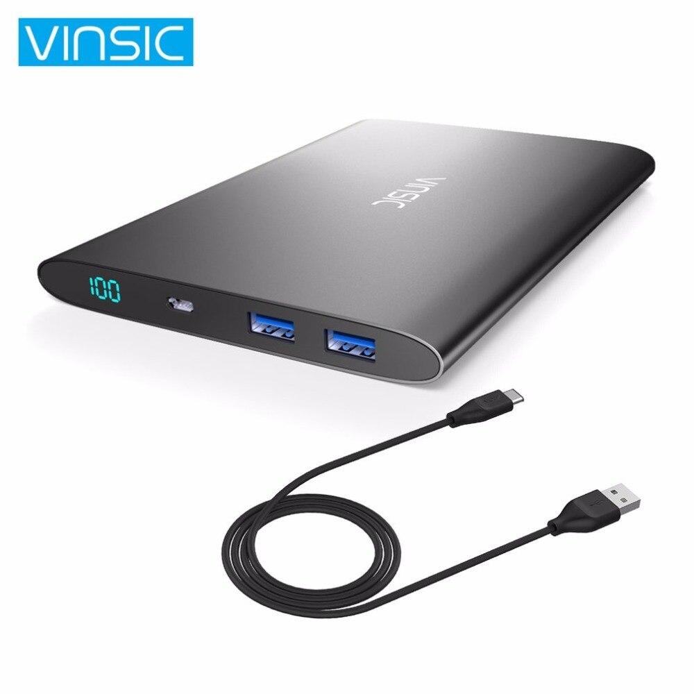 VINSIC ультра тонкий ЖК дисплей внешний запасные аккумуляторы для телефонов 20000 мАч большой ёмкость батарея зарядное устройство