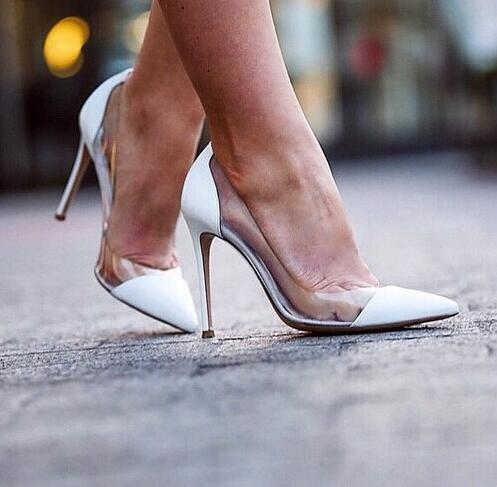Patent leather white gold sliver nude thin high heel pumps Plexiglass Clear PVC party shoes pointed semi-sheer sapatos feminin