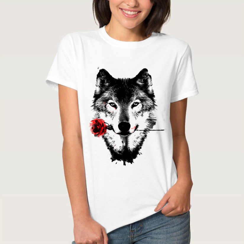 Wolf Head Rose Print T Shirt Women Short Sleeve O Neck Loose Tshirt 2019 Summer Women Tee Shirt Tops Camisetas Mujer
