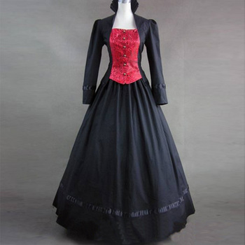 2018 Gothic Victorian Party Dress Costume 18th Century Retro Long Flare Sleeve Stage Show Period Ball Gowns for Women