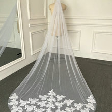 Lace Veil Cathedral No-Beading Long with Applique 3-Meter Tulle Real-Sample-Pictures