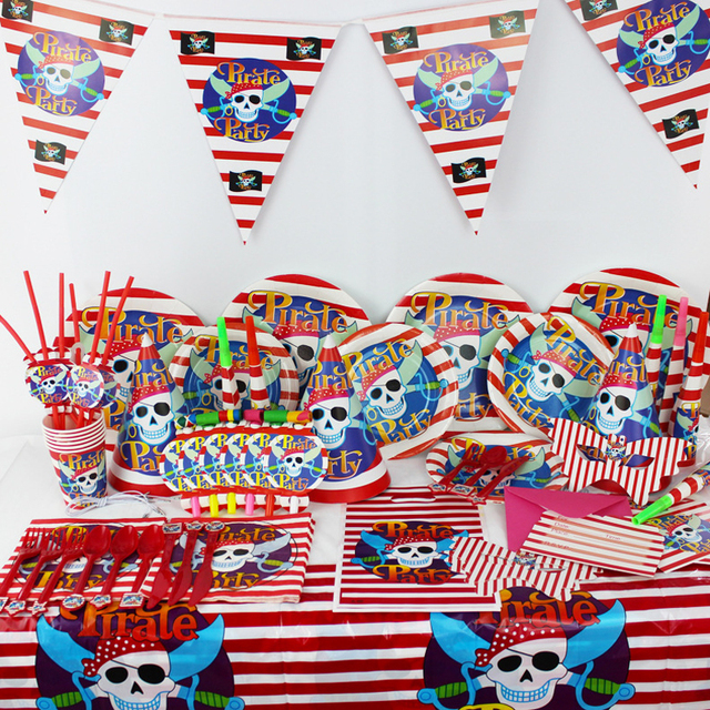 Pirate Theme Party Supplies Creative Boys Girls Birthday Party Baby Shower Wedding Decoration Supplies