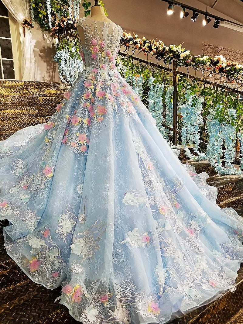 AOLANES 2018 Lace 3d Colorful Flower Bridal Dress Plus Size Blue ...
