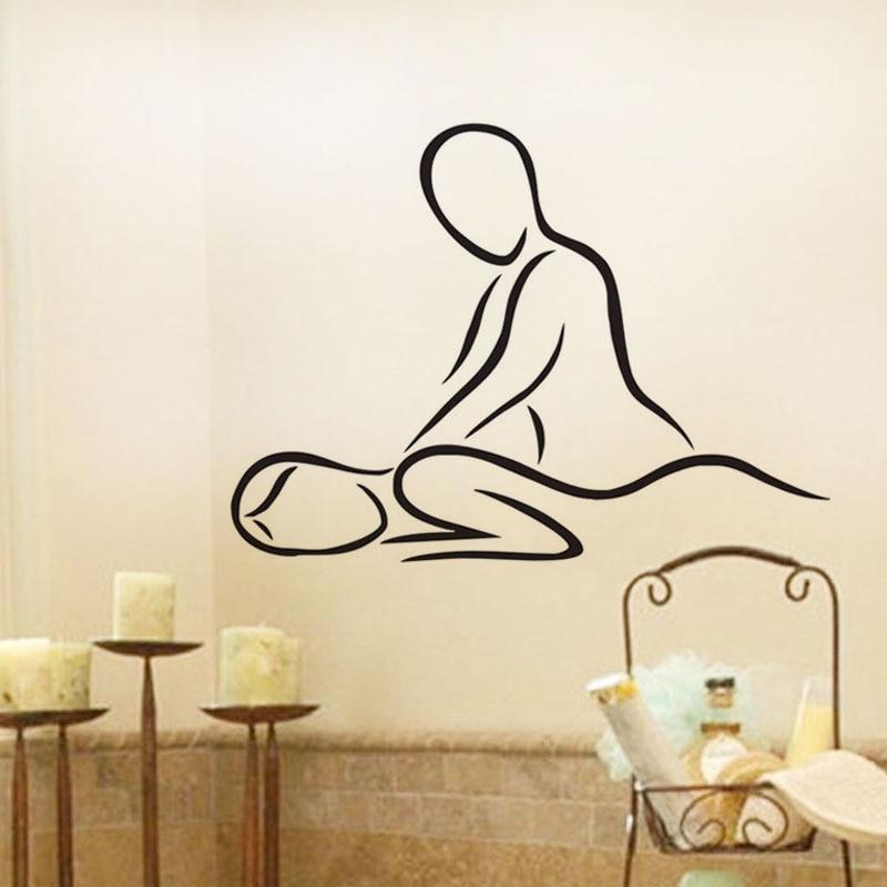 Spa Beauty Salon Wall Decals ვინილის წებოვანი სტიკერები სახლის დეკორაციები გოგონების მასაჟი კედლის სტიკერები თანამედროვე
