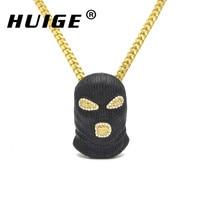 Hip Hop CSGO Pendant Necklace Mens Punk Style Alloy Black Plated Mask Head Charm Pendant High