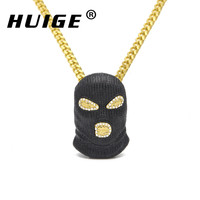 Hip Hop CSGO Pendant Necklace Mens Punk Style Alloy Black Plated Mask Head Charm Pendant High