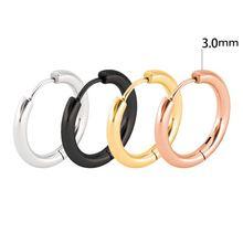 2 шт 3,0 мм толще розовое золото 316L нержавеющая сталь круглые серьги-кольца розовое золото маленькие круглые ювелирные изделия для женщин